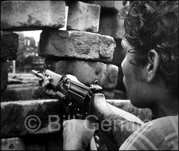 Sandinista rebel mans a barricade in Managua. 1979.